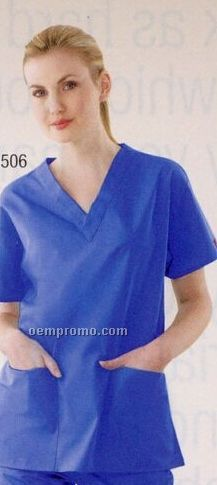 Dickies Unisex V Neck Scrub Top With 2 Pockets (Screen Printed)