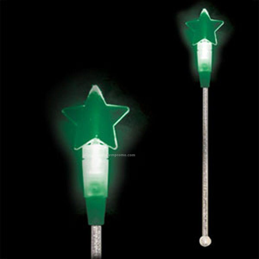 Light Up Stir Stick W/ Jade Green Star Handle