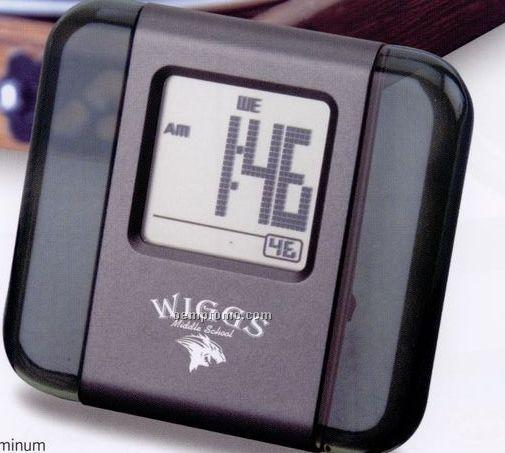 Acrylic And Aluminum Lcd Alarm Clock