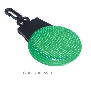 Green Round Light Up Reflector W/ Clip & Red LED