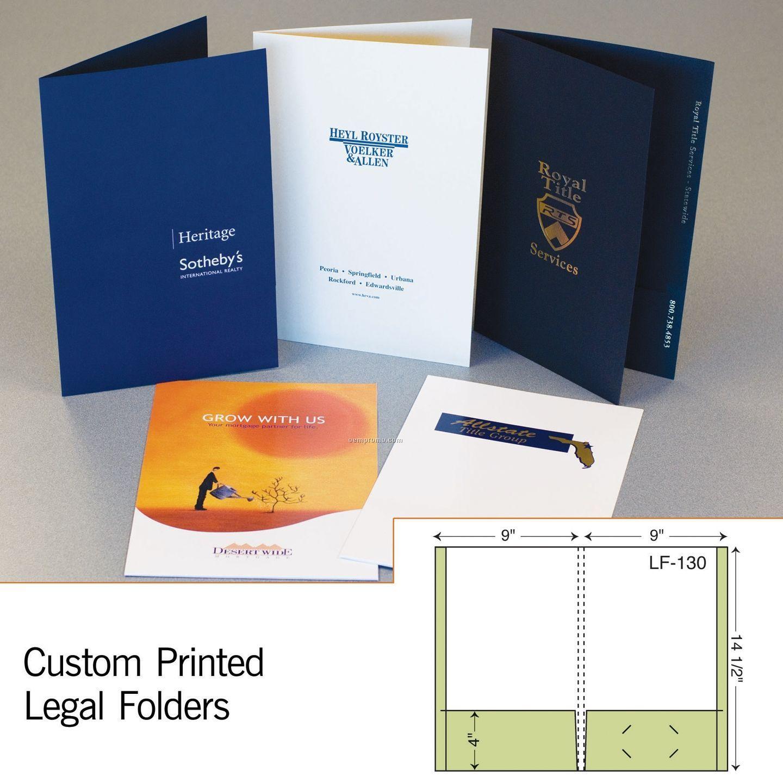 """Legal Folder W/ 2 Reinforced Pockets & 3/8"""" Spine (1 Color/1 Side)"""