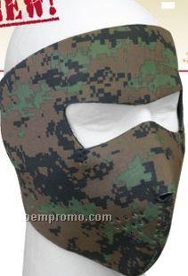 Woodland Digital Camouflage/ Black Reversible Neoprene Face Mask