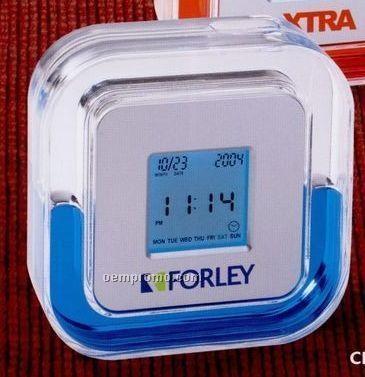 Liquid Filled Digital Alarm Clock W/ Calendar, Temperature And Timer