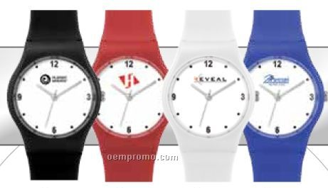 Unisex 33 Mm Plastic Translucent Case Watch W/ Plastic Strap