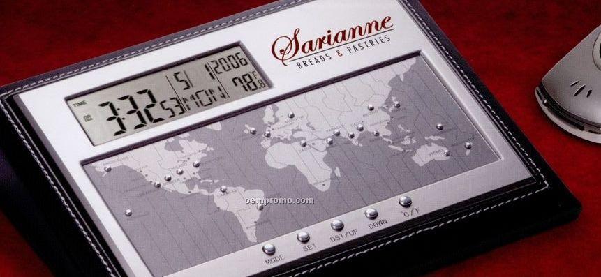 Executive World Time Alarm Clock W/ Calendar & Temperature Display