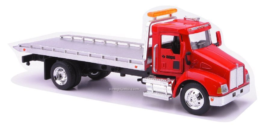 "Kenworth Semi Utility 9"" 1:43 Scale Roll Off Flatbed Tow Truck"