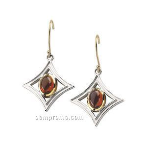 Sterling Silver/14ky Genuine Mozambique Garnet Cabochon Earrings