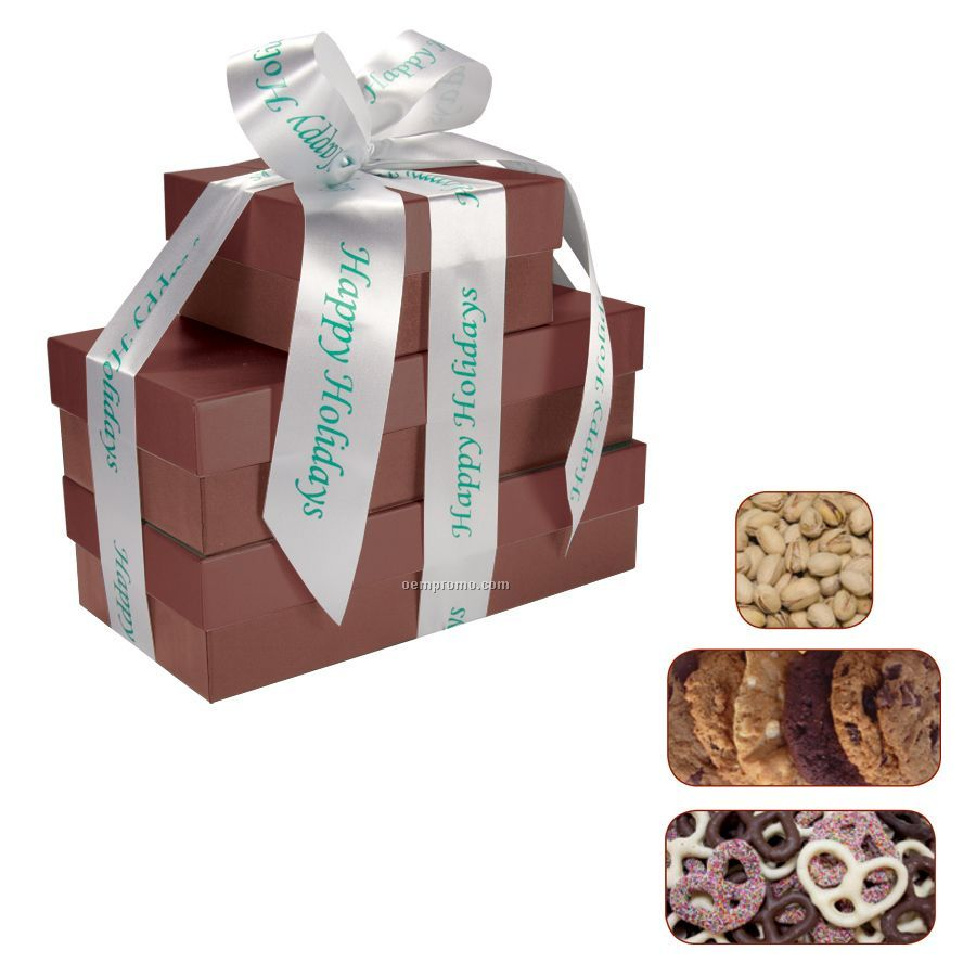 The Four Seasons Burgundy Red Gift Tower W/ Pretzels, Cookies & Pistachios