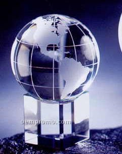"1-3/16""X1-3/16""X1-3/16"" Embedded Globe With Cube Base & Meridian Lines"
