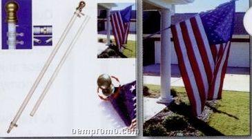Best Us Flag Kit - 2 Piece Silver Aluminum Pole Kit With Nylon Flag (3'x5')