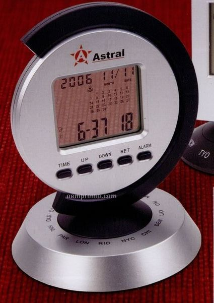 Display Alarm Clock & Calendar W/ 16 City World Time