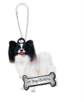 Papillon Dog Zipper Pull W/ Black Back & Metal Clip