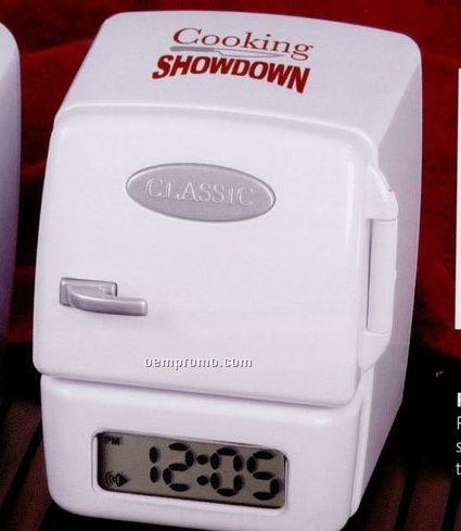 Refrigerator Shaped Plastic FM Radio With Alarm Clock