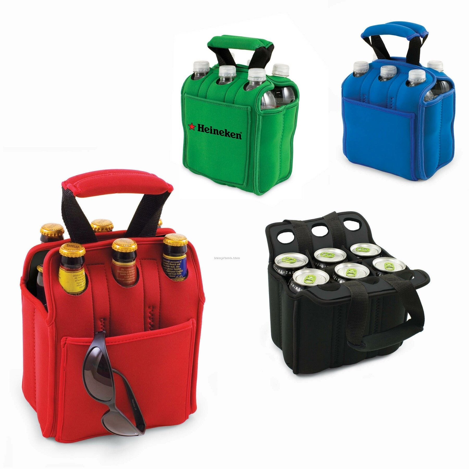 Six Pack Neoprene Insulated Bottle/ Can Tote With Padded Handles - Solids