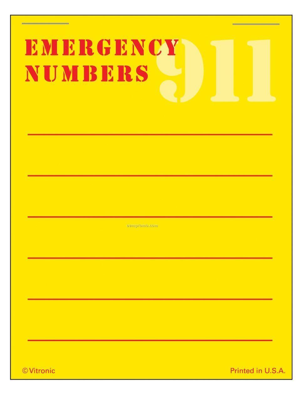 Super Size Emergency Number List Press-n-stick Calendar Pad (After 8/1/11)
