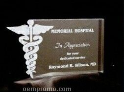 Acrylic Paperweight Up To 20 Square Inches / Caduceus In Rectangle