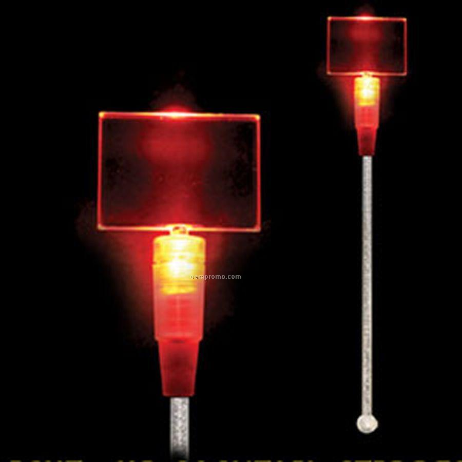 Light Up Stir Stick W/ Red Rectangle Handle