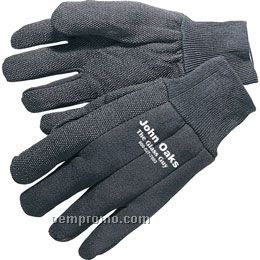 Men's & Ladies' Heavy Weight Brown Jersey Gloves With Pvc Dots