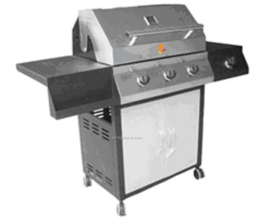 Stainless Steel Bbq Grill W/Black Accent Trim