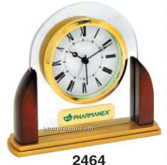 Glass / Wood Dome Desk Alarm Clock