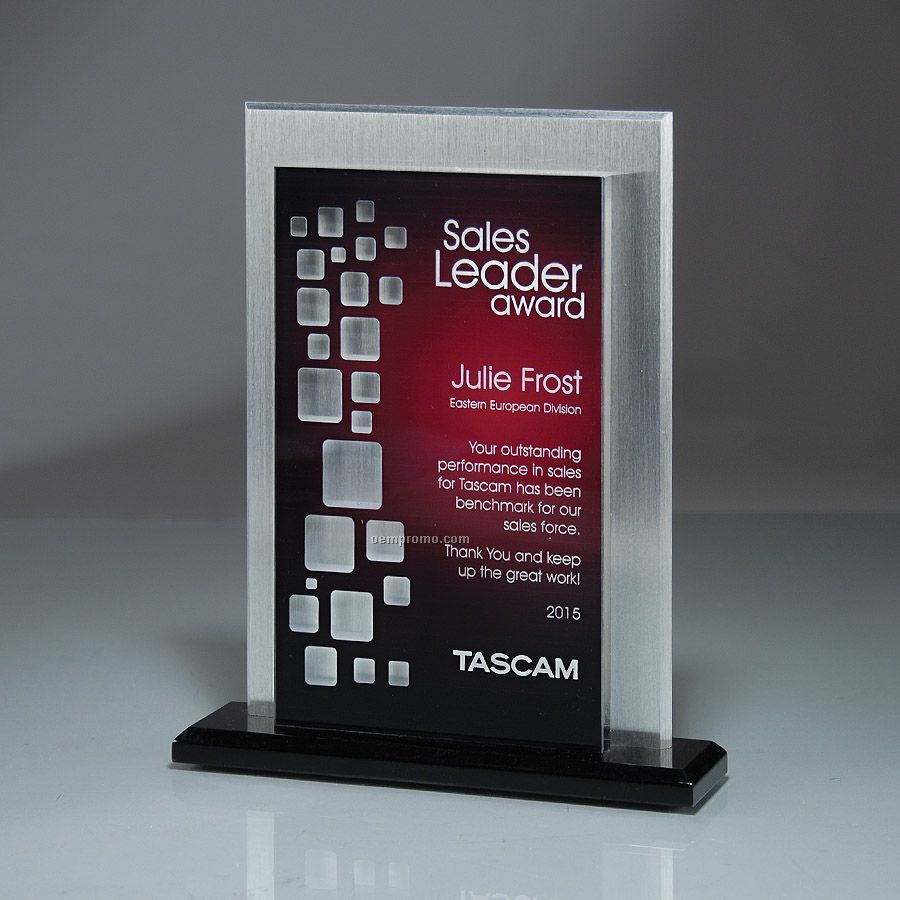 Reflective Window Tablet Award With Solid Aluminum