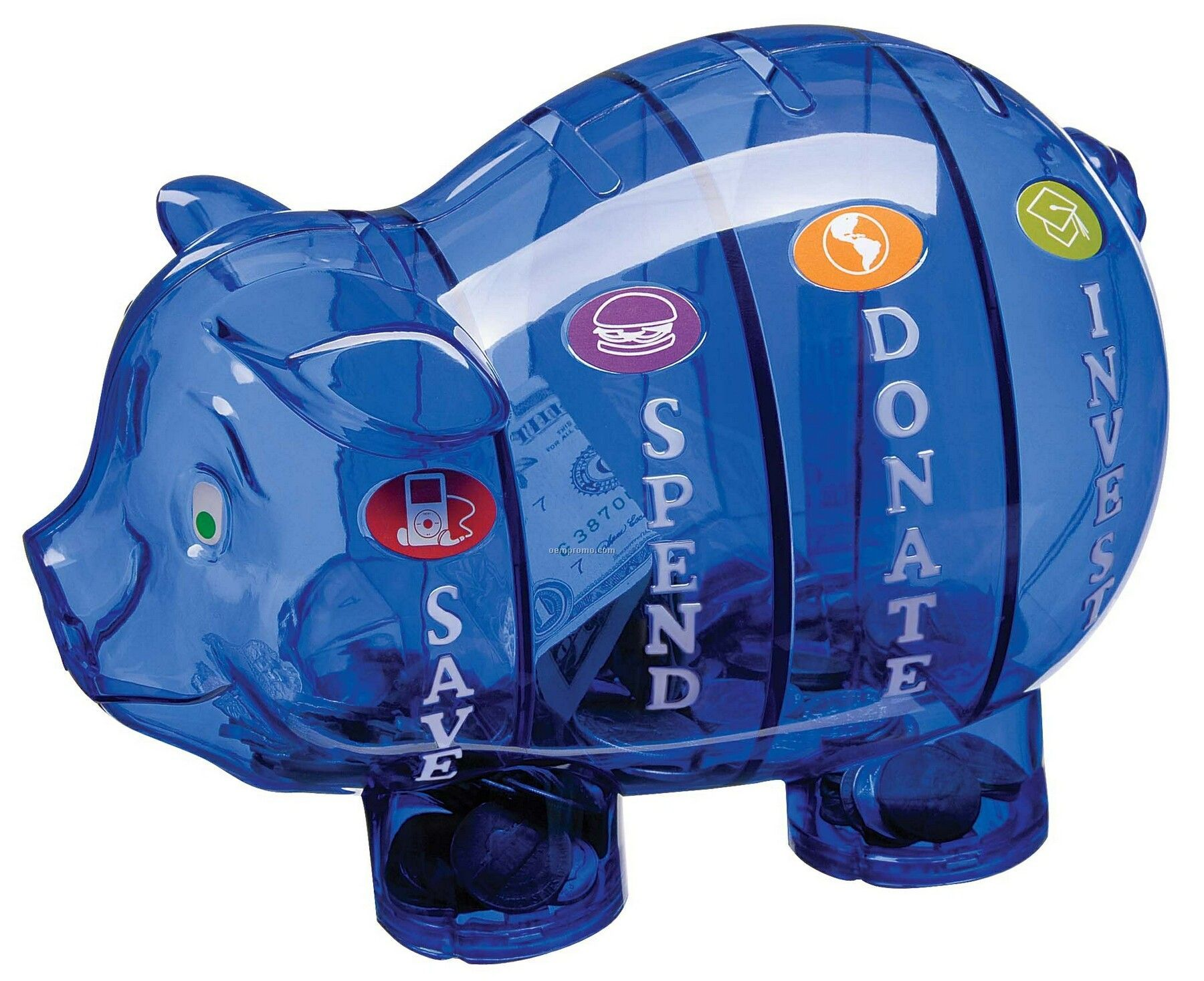 action line money savvy pig bank with 4 separate