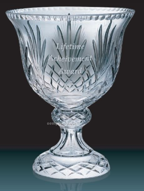 Heavy Lead Crystal Bowl On Pedestal W/ Wheat Design / 11""