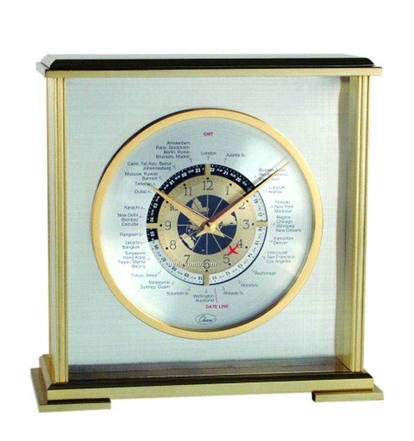 Metal & Glass Analog World Time Mantel Clock With Alarm