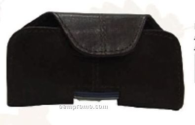 Black Stone Wash Cowhide Phone Belt Pouch