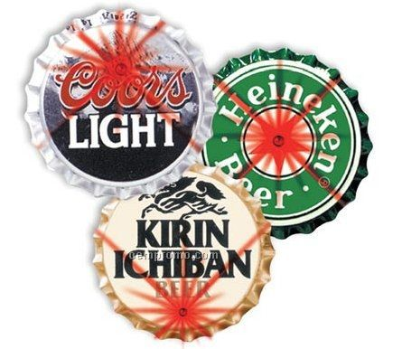 Light Up Bottle Cap Button W/ 2 Red LED