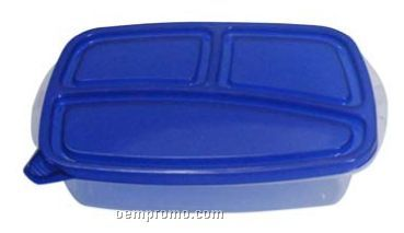 Rectangular Food Container W/ 3 Compartments