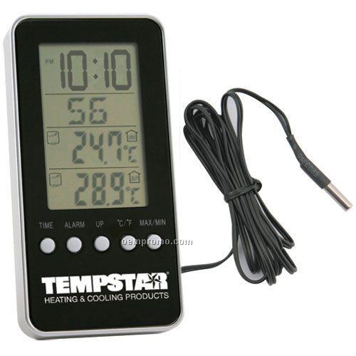 Indoor/ Outdoor Digital Thermometer Alarm Clock