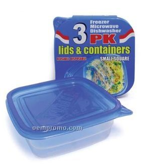 Square 3-pack Disposable Food Containers W/ Lids
