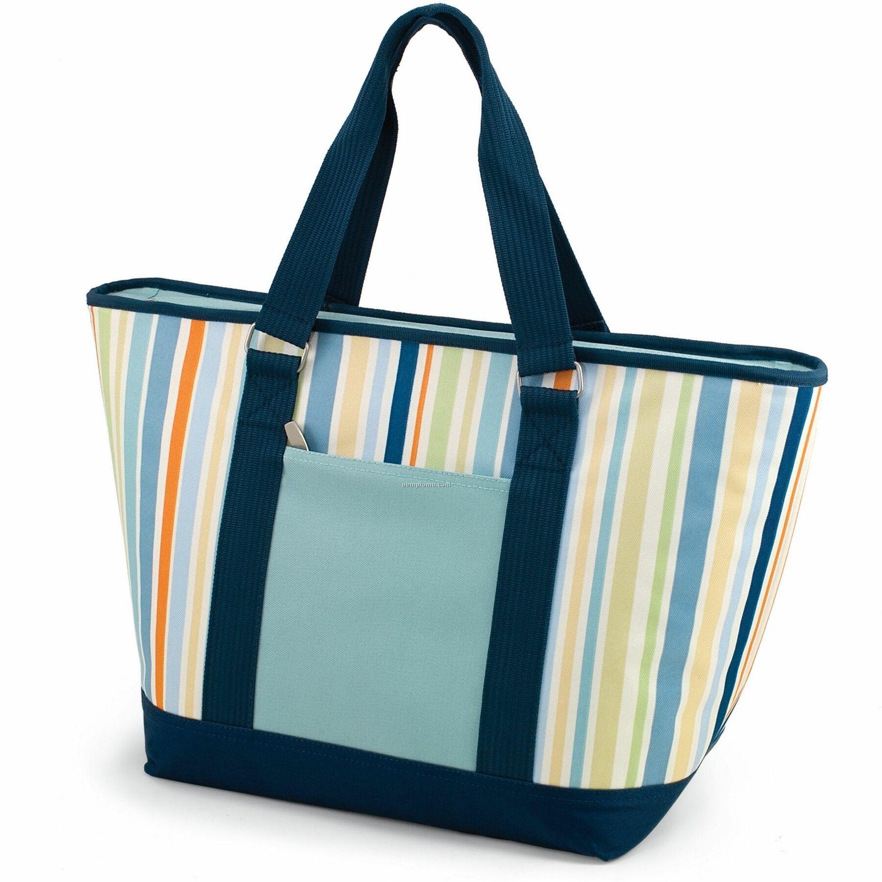 topanga st tropez canvas cooler tote bag wpocket aqua 24 can