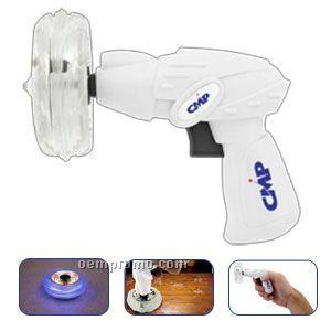 White Light Up Spinner Top W/ Gun & Blue LED