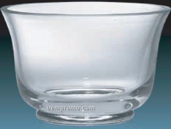 Smooth 24% Lead Crystal Bowl Award W/ Wide Mouth / 9""