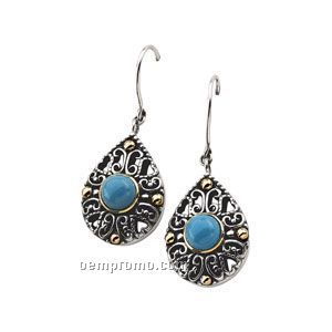 Sterling Silver/14ky Genuine Turquoise Cabochon Earrings