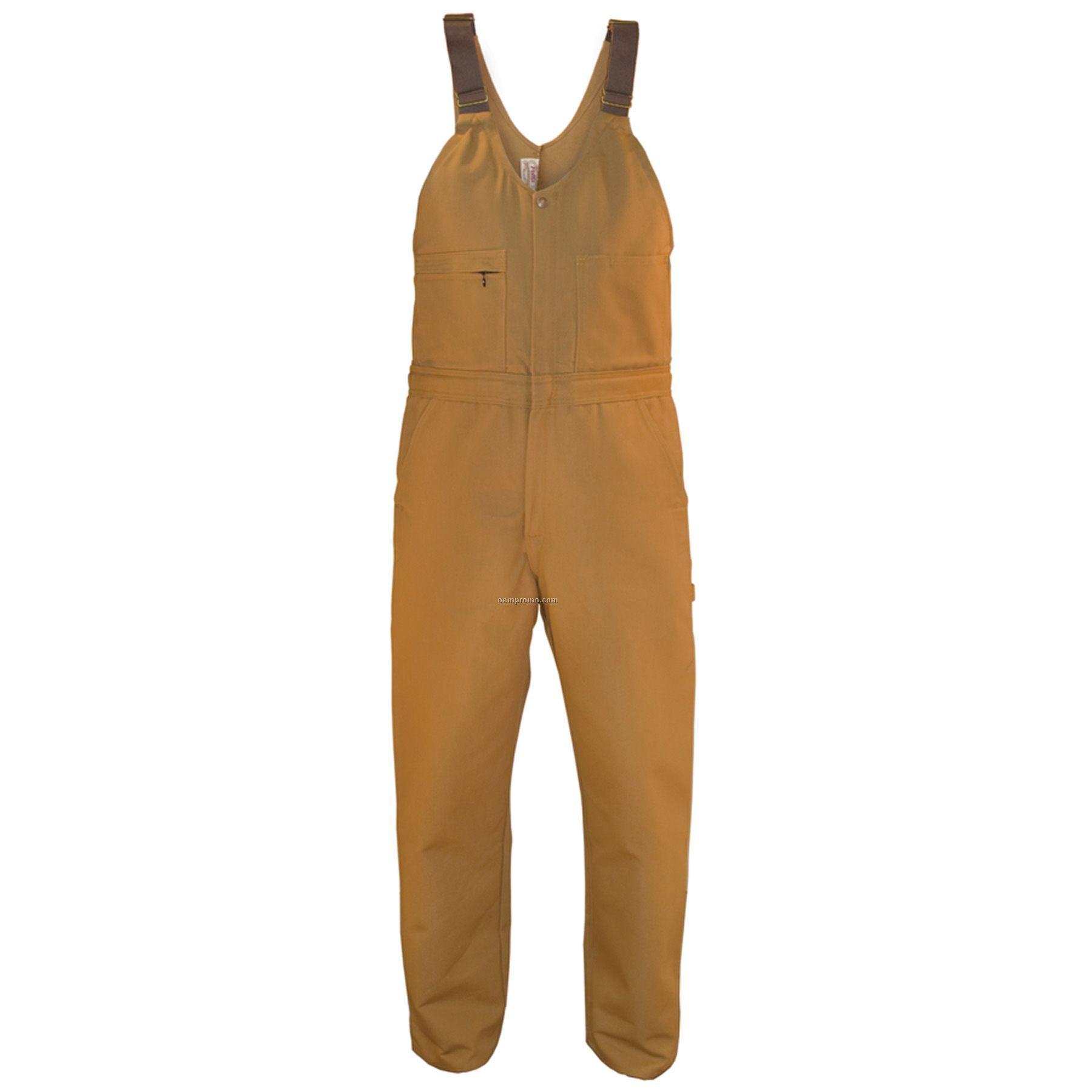"""12 Oz. Brown Duck Unlined Zip Front Bib Overall - 48""""X50"""" Waist"""