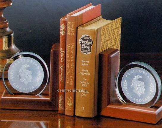 """Jade Glass Small Bookends Set On Wood - 5-1/4""""X5-1/4"""""""