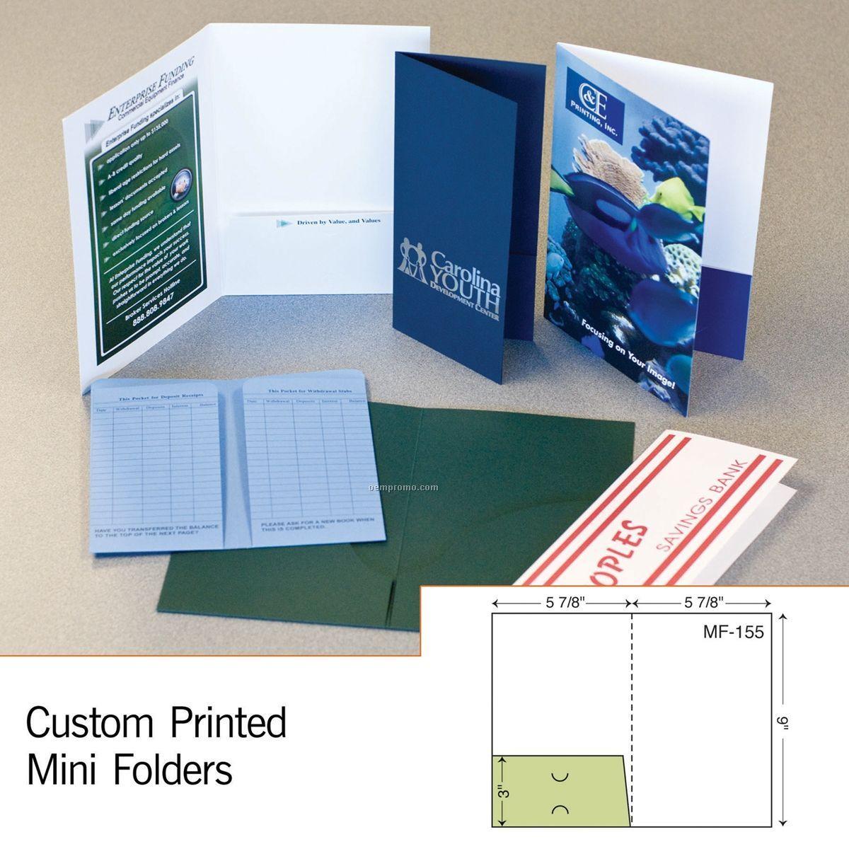 Mini Folder W/ Single Score Spine & Left Pocket (1 Color/1 Side)