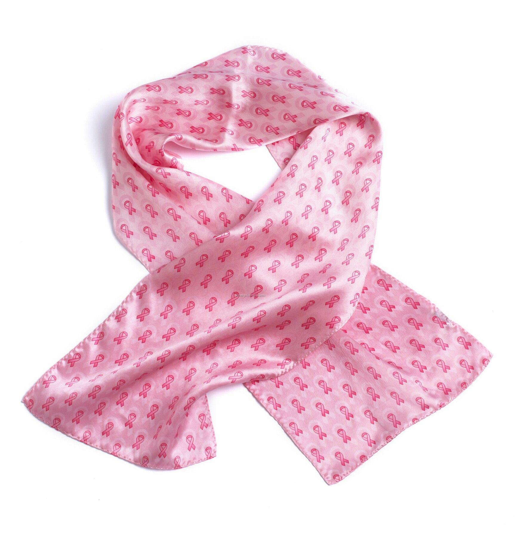 Pink Ribbon Silk Scarf
