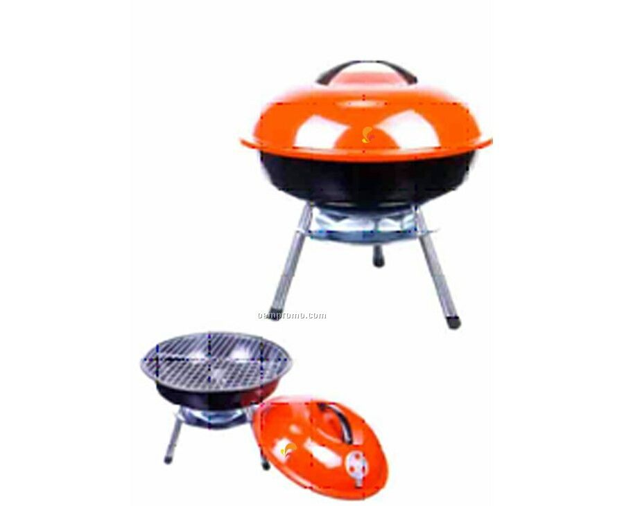 Round W/Red Lid & Short Legs Barbecue Grill
