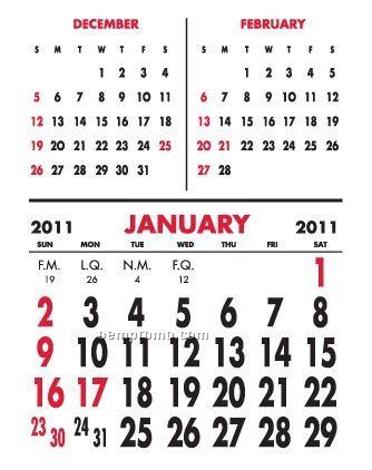 Super Size 3 Month Vertical Press-n-stick Calendar (Thru 8/1/11)