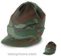 Camouflage Beanie W/ Visor