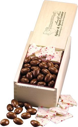 Wooden Collector's Box W/ Peppermint Bark & Milk Chocolate Almonds