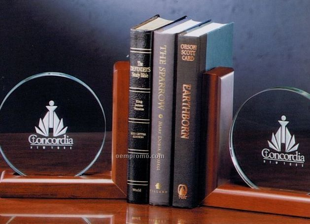 """Jade Glass Large Bookends Set On Wood - 7-1/4""""X7-1/4"""""""