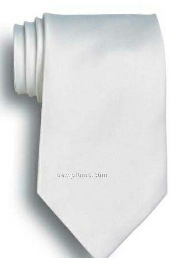 Wolfmark Solid Series White Polyester Satin Tie