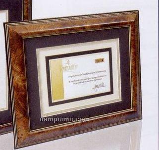 """11""""X14"""" Rich Walnut Burl Certificate Frame W/ Gold Trim & 2 Matboards"""