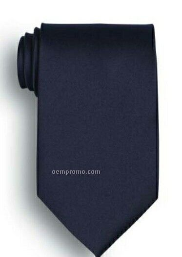 Wolfmark Solid Series Navy Blue Polyester Satin Tie