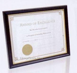 Rich Hardwood Certificate Frame W/ Black Finish & Gold Trim Line